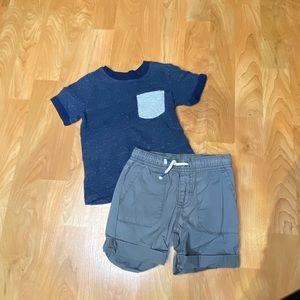 Boys navy t-shirt & gray cargo shorts